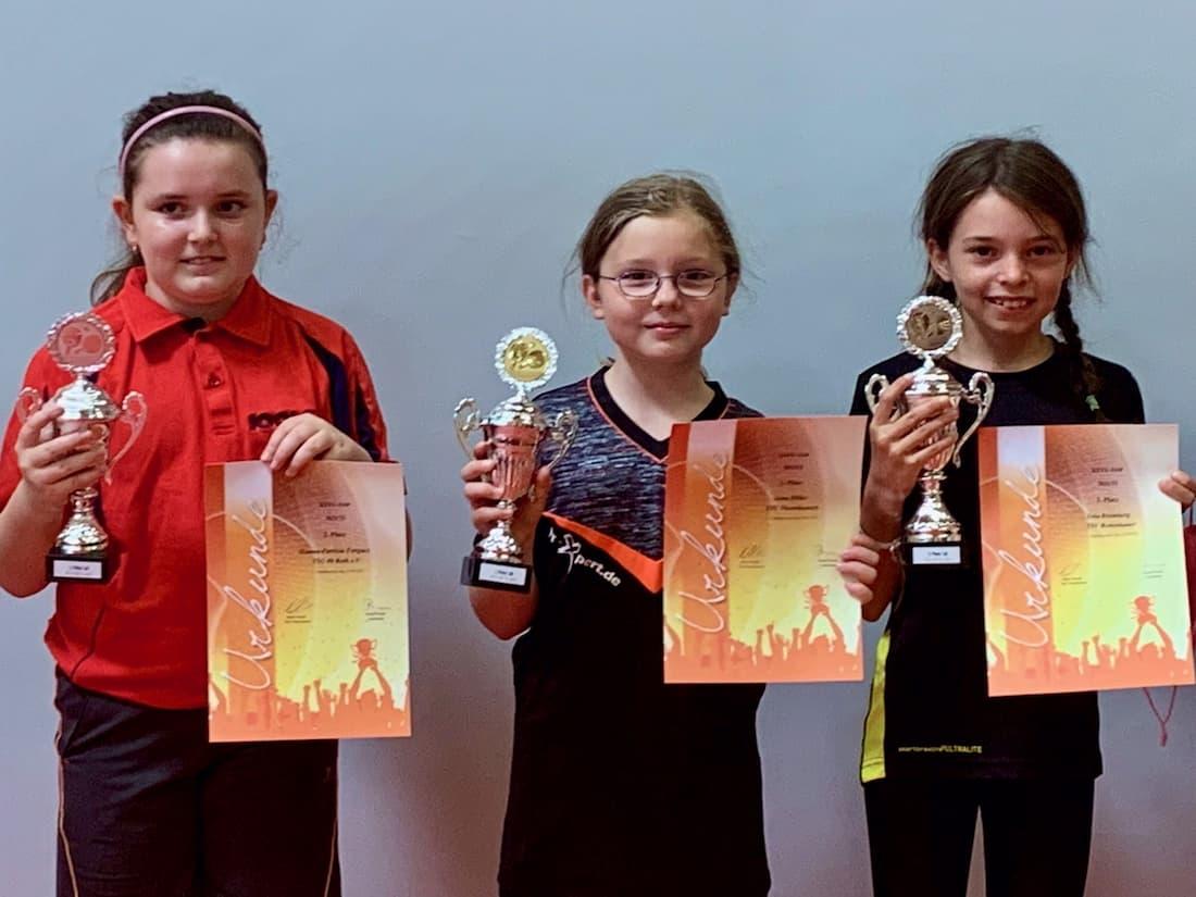 Yola und zwei weiter Siegerinnen präsentieren ihre Pokale und Urkunden